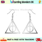 Harry Potter Deathly Hallows Earrings Charm Silver Plated Gift Bag
