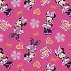 MINNIE MOUSE super cool : 100% LICENSED cotton  :  by the continuous 1/2 metre
