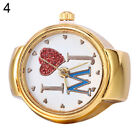 Lady Girl Golden Tone Round Elastic Alloy Quartz Watches Finger Ring Watch Great