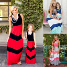 Fashion Mother and Daughter Boho Stripe Maxi Dress Mommy&Me Matching Outfits Set