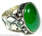 Genuine Natural Green Mountain Jade Gemstone 925 Sterling Silver Ring size 7