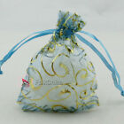 Gold Bine Light Blue Organza Wedding Favour Gift Bags Pouches 7x9,9x12,13x17cm