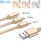 3 IN 1 Copper Metal Cell Phone USB Cable Charging for iPhone ios&Android&Type-C