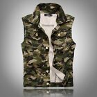 New Fashion Mens Casual Slim Denim Sleeveless Casual Vest Camo Coat Jacket M-4XL