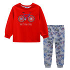 Pyjamas Boys Winter Long Cotton Knit Pjs (Sz 3-7) Set Red Bike (759) Sz 3 4 5 6