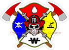 Haz-Mat Maltese Cross Skull Firefighter Reflective Decal Sticker Rescue EMS EMT