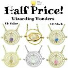 Harry Potter Gold Time Turner Necklace Hermione Granger Rotating Spins Hourglass
