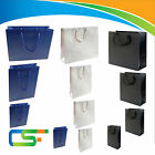 LUXURY GLOSS PAPER BAGS FOR GIFTS BOUTIQUE CLOTHING OUTLETS BLACK, BLUE & WHITE