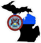 Thin Blue Line Michigan w/ State Seal Reflective Decal Sticker Police Sheriff