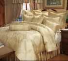 Luxury Gold Jacquard 9 pcs Comforter Cal King /King /Queen Bedroom Set