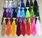 New Quality Pre Tied Baby Toddler Boys Girls Elasticated Satin Tie *24 colours*