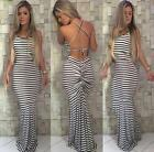 Women Striped Dress Long Boho Maxi Evening Party Beach Dresses Backless Sundress