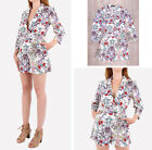 Ladies Floral Print Party Belt V Neck 3/4 Sleeves Cocktail Hot Pants Play Suit