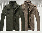 Mens Air Force Jacket Military Washed Stand Collar Tactical Warm Fur Lined Coats