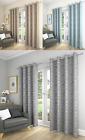 LIGHTWEIGHT LINED EYELET RING TOP CURTAINS TEXTURED CIRCLE PRINTED SATURN POLE
