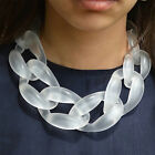 Women Fashion Jewelry Acrylic Twist Circle Link Chunky Chain Collar Necklace New