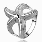 Elegant 925 Sterling Silver *Starfish* Engagement Wedding Ring Size 7, 8