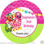 Personalised Cute SHOPKINS  Birthday Self Adhesive Gloss Sticker Label 2 sizes