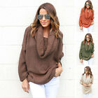 Women's Fashion Jumper Ladies High Collar Sweater Long Sleeve Loose Tops Warm UK