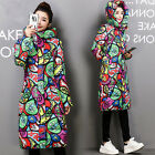 New Women Long Down Cotton Parka Cartoon Printing Hooded Trench Coat Jacket