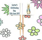 24 Personalised CHRISTENING Peter Rabbit FLAG PICK Cup Cake Topper Decoration
