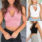 Plunge V Neck Strappy Cross Cut Out Crop Top Casual Sexy Sports Tank Tops Vest