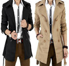 New Men's Slim belt Korean style double-breasted long coat jacket