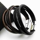 New Genuine Leather Wristband Men's Women Bracelet Bangle Jewelry Gift