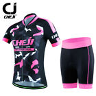 New Bicycle Uniforms Women's Cycle Jersey+4D Gel Padded Tights Sets Breathable