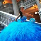 Excellent Organza Blue Color Sweetheart Sleeveless Quinceanera Dress Custom Made