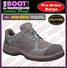Oliver Work Boots, 49414, Women's Grey/Blue Lace-Up, Steel Cap, Safety Jogger