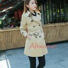 Women Casual Double Button Belt Trench Jacket Long Sleeve Outwear Coat Plus Size