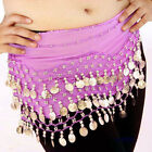 Belly Dance Dancing Hip Skirt Scarf Wrap Belt costume with 3 Rows Gold Coins