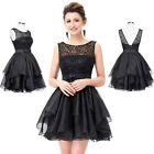 Sexy V-Back Beaded Lace & Organza Short Ball Gown Bridesmaid Evening Party Dress