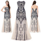 GK Strapless Sequins Tulle Prom Ball Gown Evening Long Mermaid Party Dress Beige