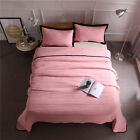 Solid Thin Quilt/Bedspread King Queen Washed Cotton Blend 3pcs Coverlets Set