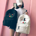 Fashion Women Wood Harajuku Rose Embroidery Backpack Travel Canvas Shoulder Bag