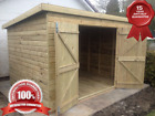 """10x6 Tanalised Wooden Garden Shed """" FACTORY SECONDS"""" Pent Treated Double Doors"""