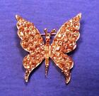 Vtg Gold-Tn Designer Signed PELL Pave-Set Topaz Rhinestone Butterfly Pin MINT ..
