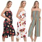 Womens Plus Size Printed Bandeau Off Shoulder Bardot Jumpsuits Playsuits 8-26