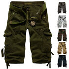 Sports Gym Mens Relaxed Casual Fit Cargo Long Shorts Fashion Army Pants Trousers