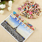 50 100 Natural Wooden Mini Craft Peg Wood Colour Cloth Photo Hanging Spring Clip