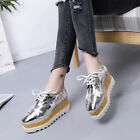 Star Womens Girls Wedge High Heels Lace Up Flat Platform Oxfords Casual Shoes