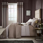 Catherine Lansfield Luxury Ombre Ribbed Bands Natural Duvet Cover Bedding Set