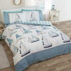 Sail Away Boats Beach Ships Anchors Nautical Striped Reverse Bedding