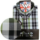 Warrior Short Sleeve Button Down Shirt CROMWELL Mod Skinhead Green Blue S-M Only