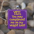 WEIGHT LOSS DIET GLASS TILE PENDANT NECKLACE design 1