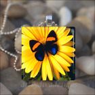 """YELLOW FLOWER BUTTERFLY"" SPRING SUMMER GLASS TILE PENDANT NECKLACE KEYCHAIN"