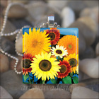 """COLORFUL SUNFLOWERS"" SPRING SUMMER FLOWER GLASS TILE PENDANT NECKLACE KEYCHAIN"