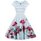 Vintage Rockabilly Cap Sleeves Prom Dress 50S 60S Retro Style Casual Skirt S-4XL